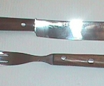 Wood-Handled Fork and Knife Set